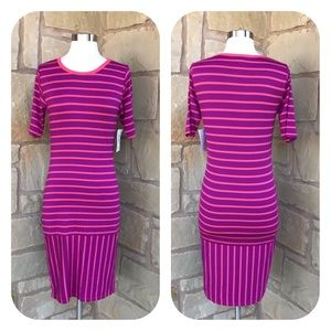 NWT LuLaRoe Purple Pink Stripe Julia Bodycon Dress